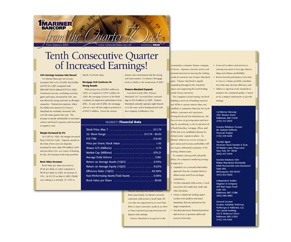 1st Mariner Bank Quarterly Report