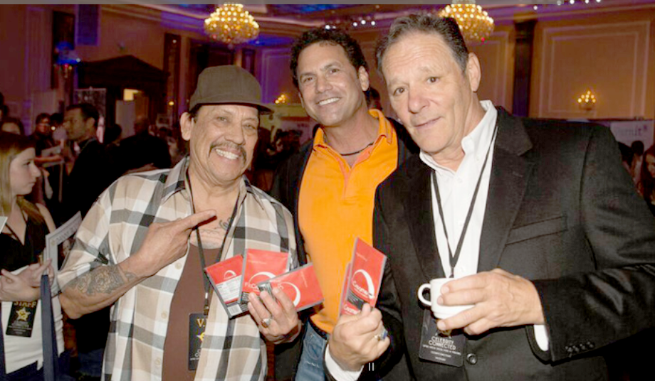 Danny Trejo & Chris Mulkey hold Fit Creamer packs designed by DPI Advertising